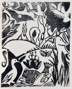 André Derain, bois gravé pour l'Enchanteur pourrissant, 1909, Musée d'Art Moderne de la ville de Paris